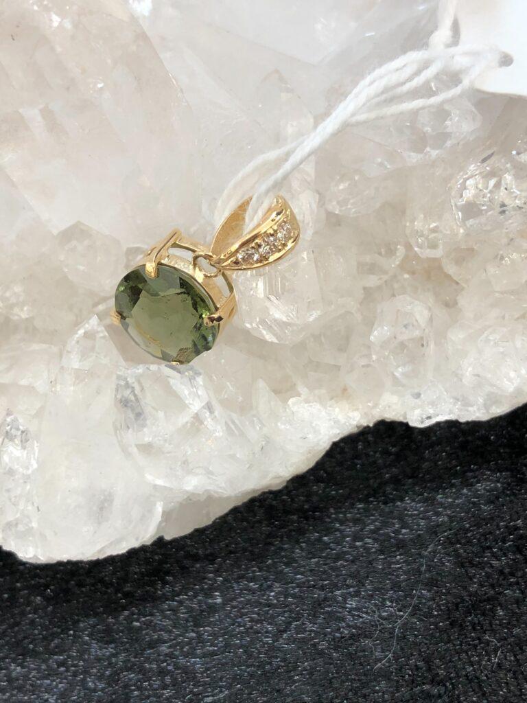 モルダバイド ダイアモンド 金18加工ペンダント