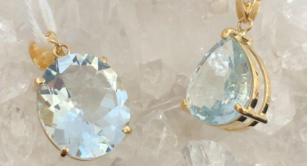 アクアマリン ダイアモンド付き 金18加工ペンダント